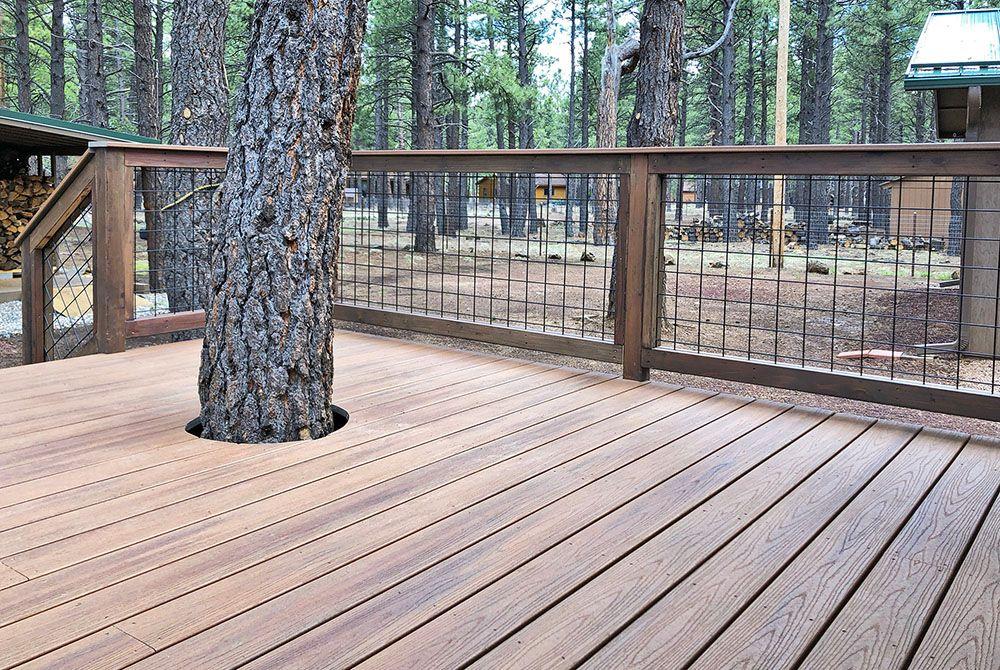 Trex Tiki Torch decking with Wild Hog metal railing | Deck ...