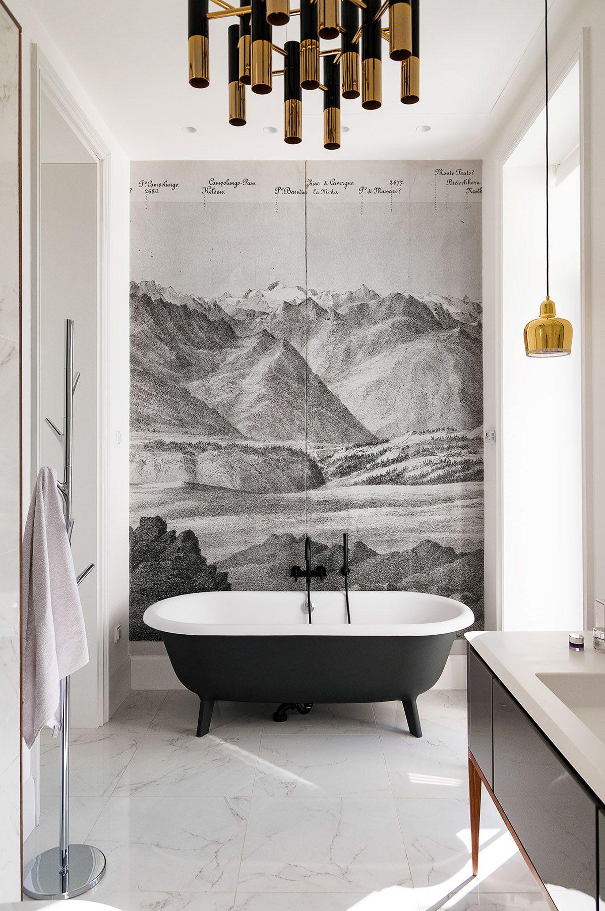 baño-diseño-reforma-papel-pintado-Алена Макагон – серый цвет в ...