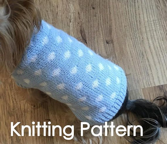 Dog Sweater With Dots Pdf Knitting Pattern The Pattern Includes A