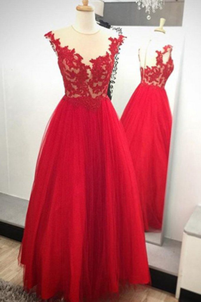 0228a50b6c6 Red Tulle See-through Round Neck Lace Applique Long Dress