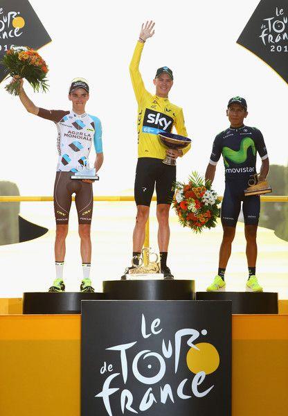 Chris Froome celebrates 1st Romain Bardet 2nd and Nairo Quintana 3rd Tour de France 2016