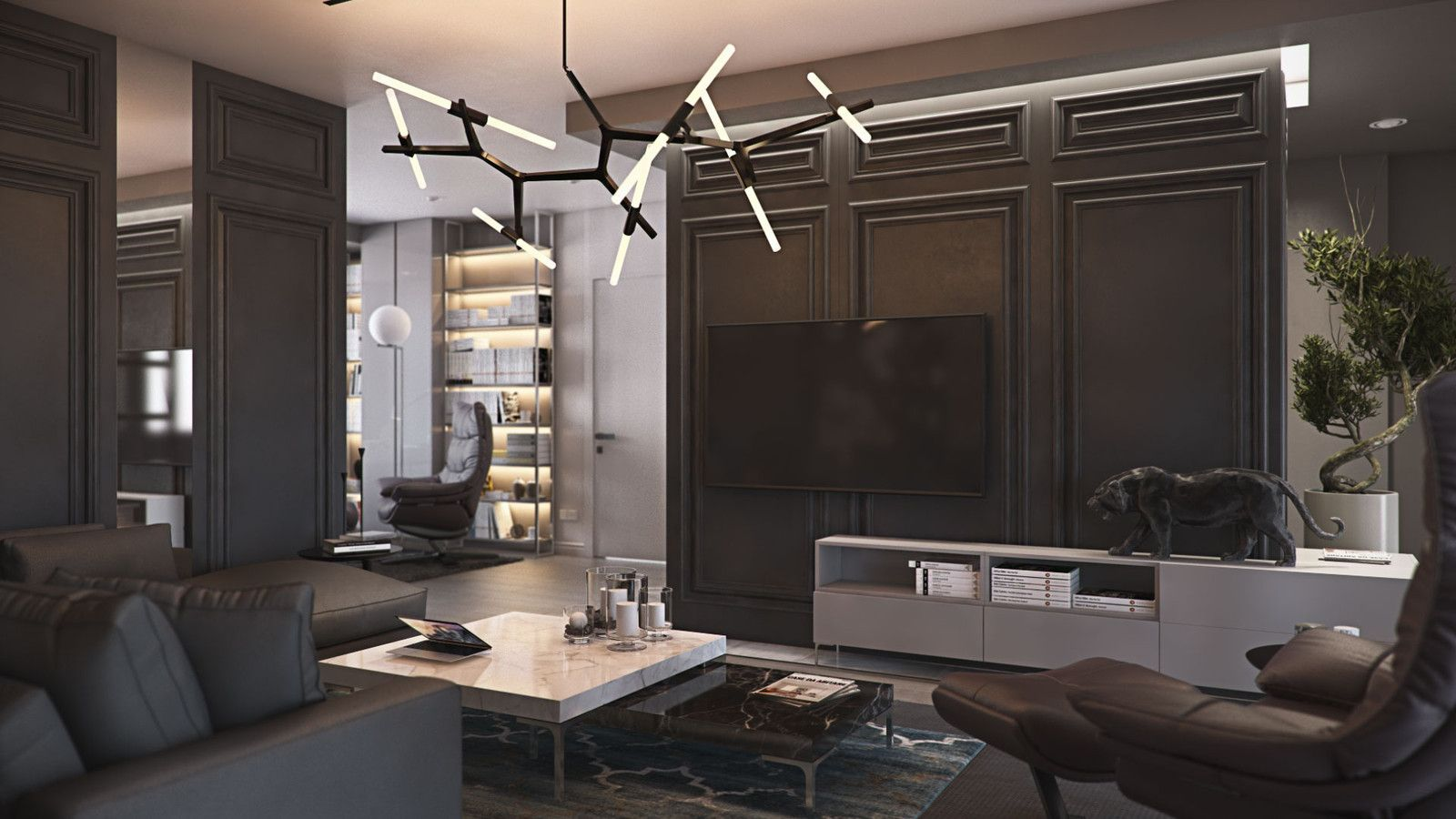 Living  Black Oak  Musa Studio  Architecture And Interior Alluring One Bedroom Apartment Designs Example 2018