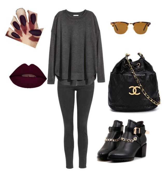 """""""Untitled #96"""" by amalinda99 ❤ liked on Polyvore featuring Topshop, Ray-Ban, H&M and Chanel"""
