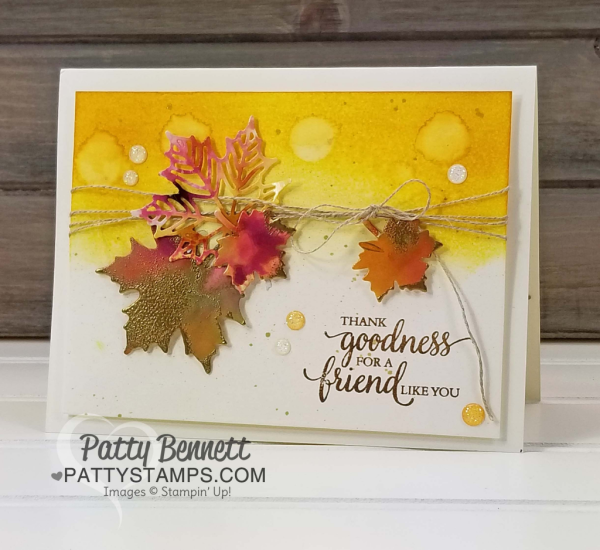 Seasonal layers framelits from stampin up fall leaf card fall card with several techniques seasonal layers framelits from stampin up fall leaf card featuring glossy paper and reinkers greeting from so many m4hsunfo
