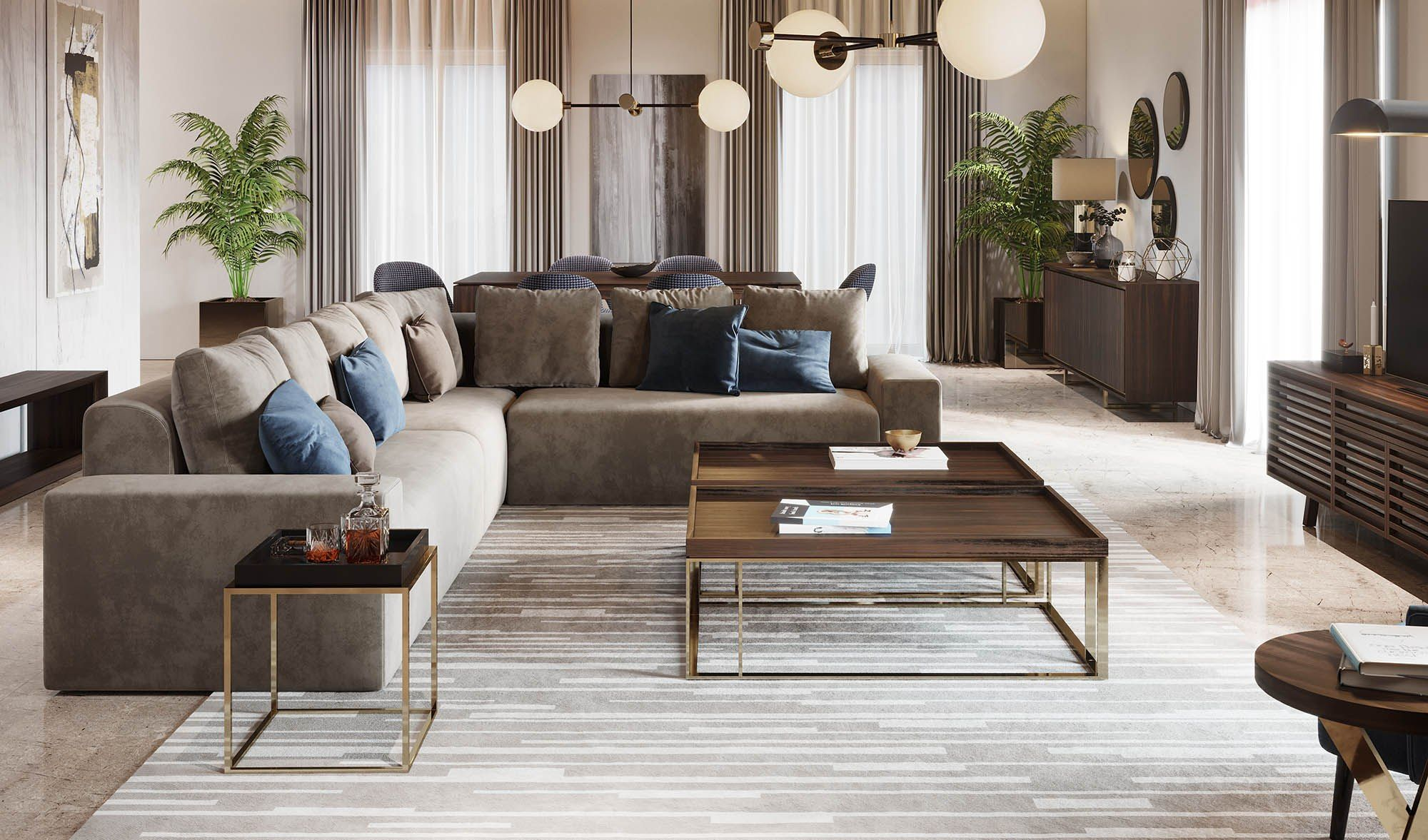 Laskasas Decorate Life Living Room Ideas Taupe Sofa Wood And Gold Coffee Table And Side Tables Taupe Sofa Living Room Living Room Modern Modern Room