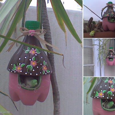 Originally this is a Birdhouse Idea made from Recycled Bottles  But can also be a Fairy or Gnome house  Tutorial how to make this  http://www.favecrafts.com/Green-Crafting/Plastic-Bottle-Birdhouse#