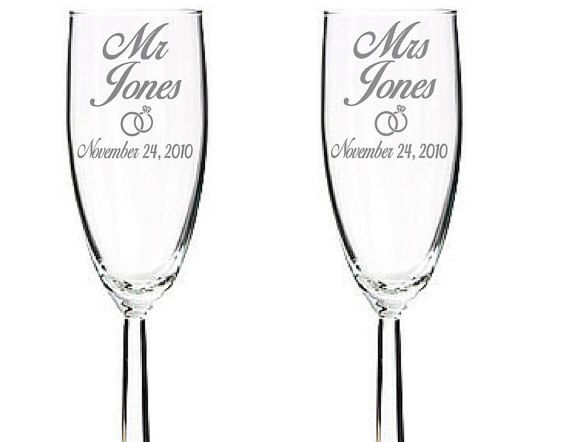 Engraved Wedding Champagne Flutes with heart ring Perfect