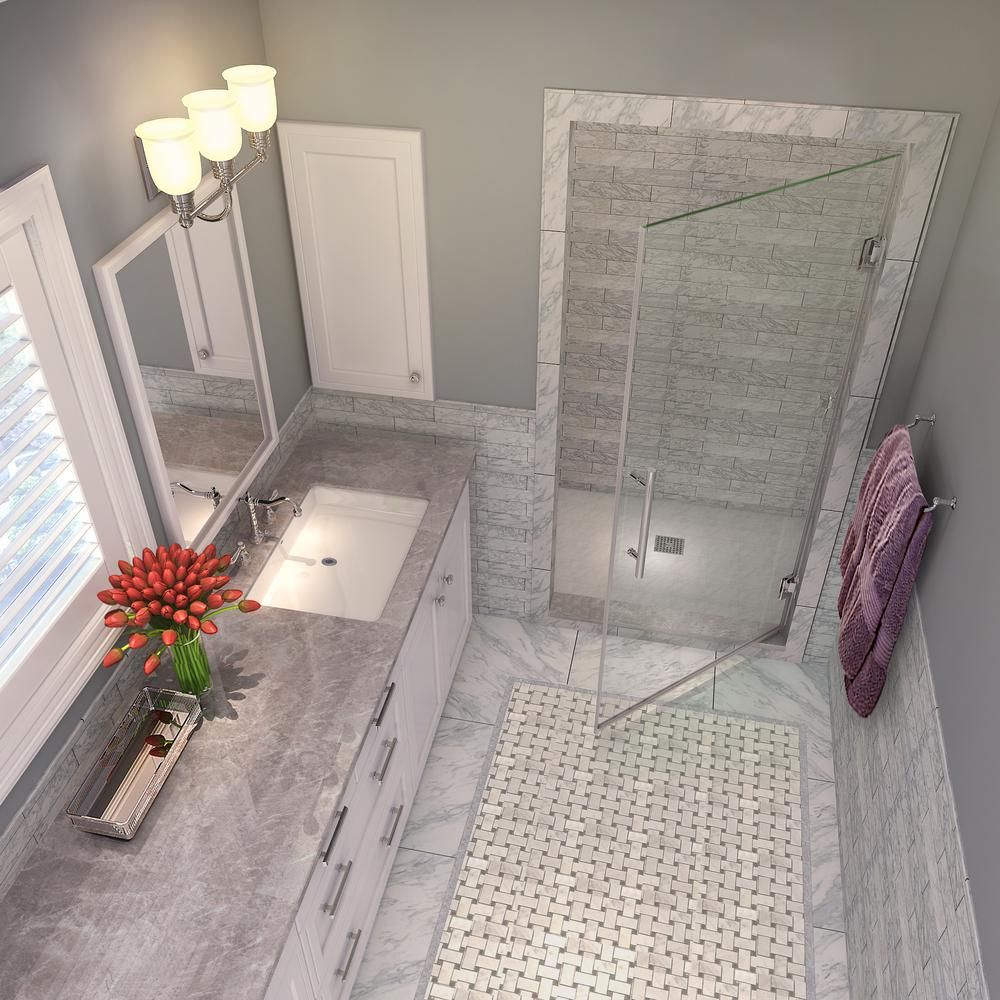 Aston Kinkade 22 75 23 25 In X 72 In Completely Frameless Hinged Shower Door In Polished Chrome Sdr997ez Ch 23 10 The Home Depot Frameless Hinged Shower Door Shower Doors Small Bathroom