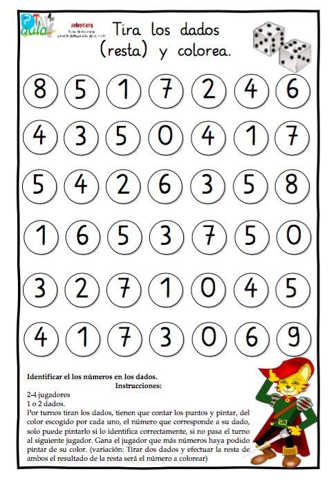 juego de dados suma resta 1 | Matemáticas | Pinterest | Juegos de ...