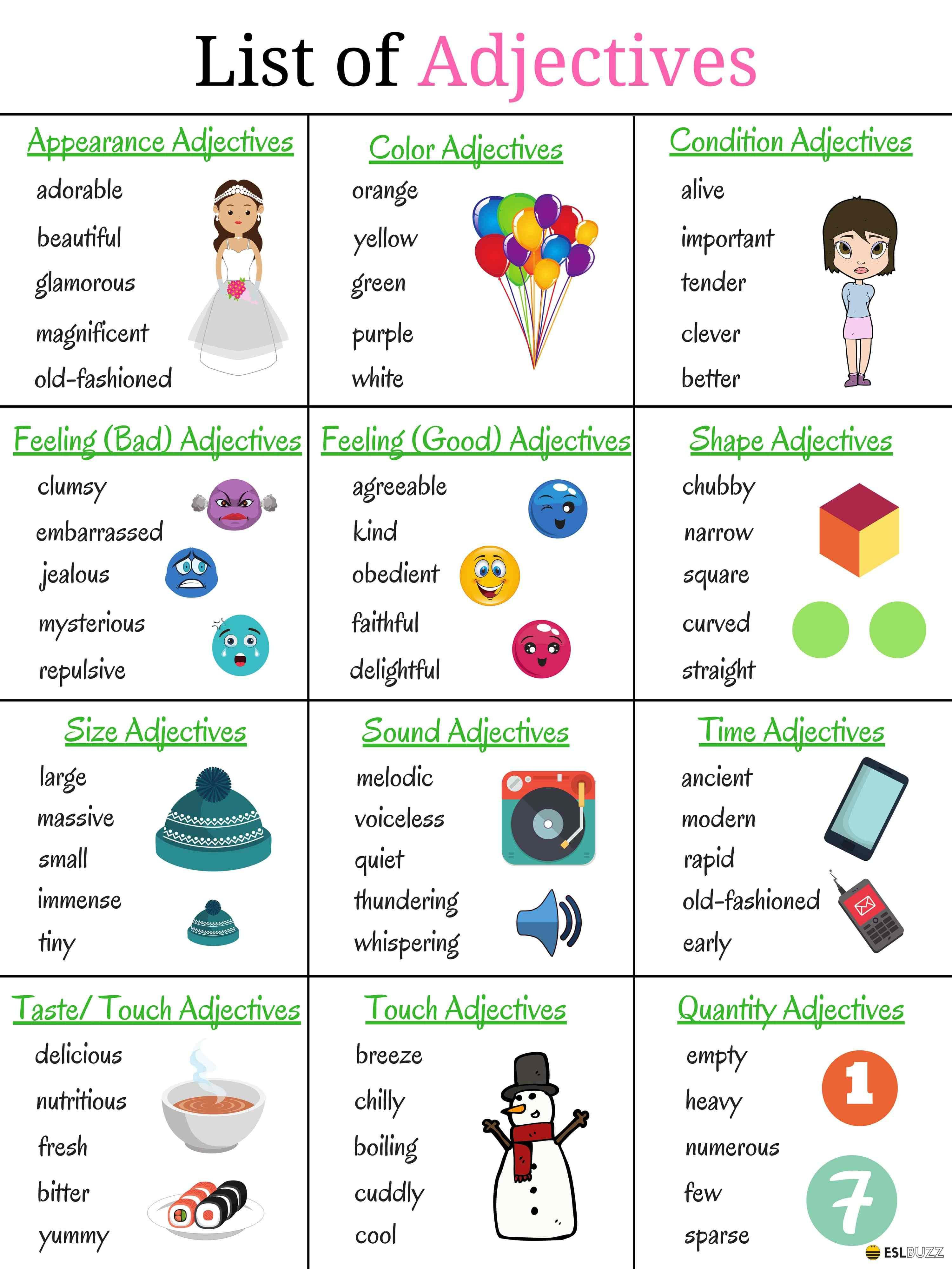 top 200 adjectives used in english vocabulary for speaking