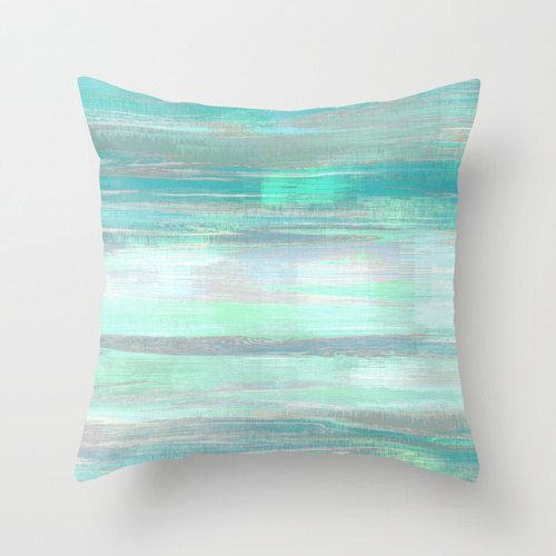 Throw pillow cover teal mint aqua green grey modern home for Mint green home accessories