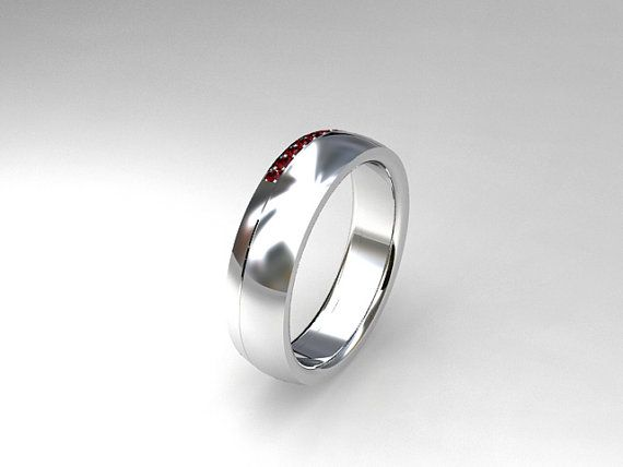 White Gold Ruby Mens Band By TorkkeliJewellery