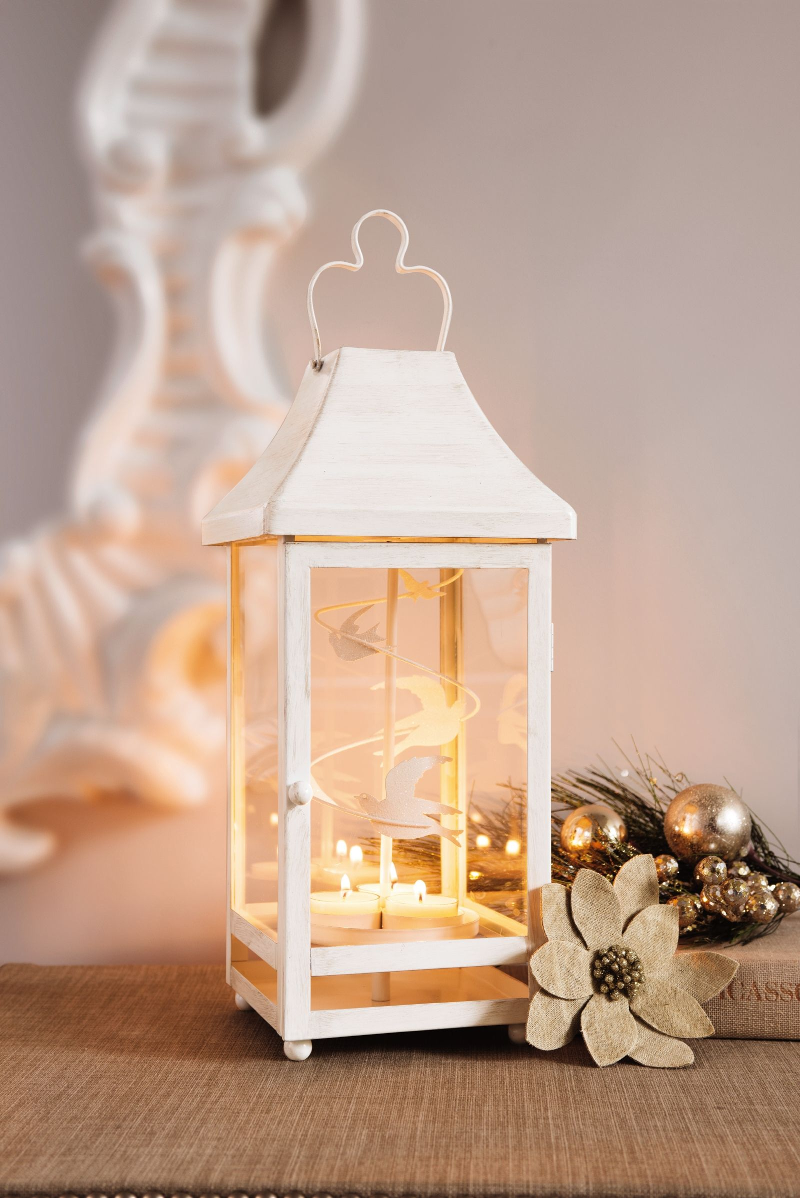 laterne vier jahreszeiten mit sich drehenden schneeflocken oder v gel das geschenk f r. Black Bedroom Furniture Sets. Home Design Ideas