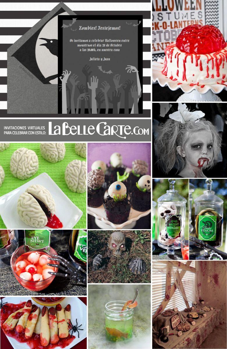 Invitaciones de Halloween tarjetas de halloween fiesta zombies