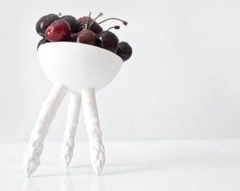 Tazón de cerámica hecha a mano con espárragos, peculiar recipiente, Ice Cream Bowl