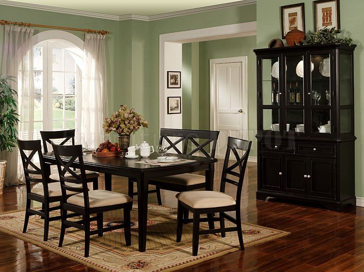 Hillside  7Pcs Cottage Rectangular Black Dining Room Table Chairs Simple Tall Dining Room Sets Design Ideas