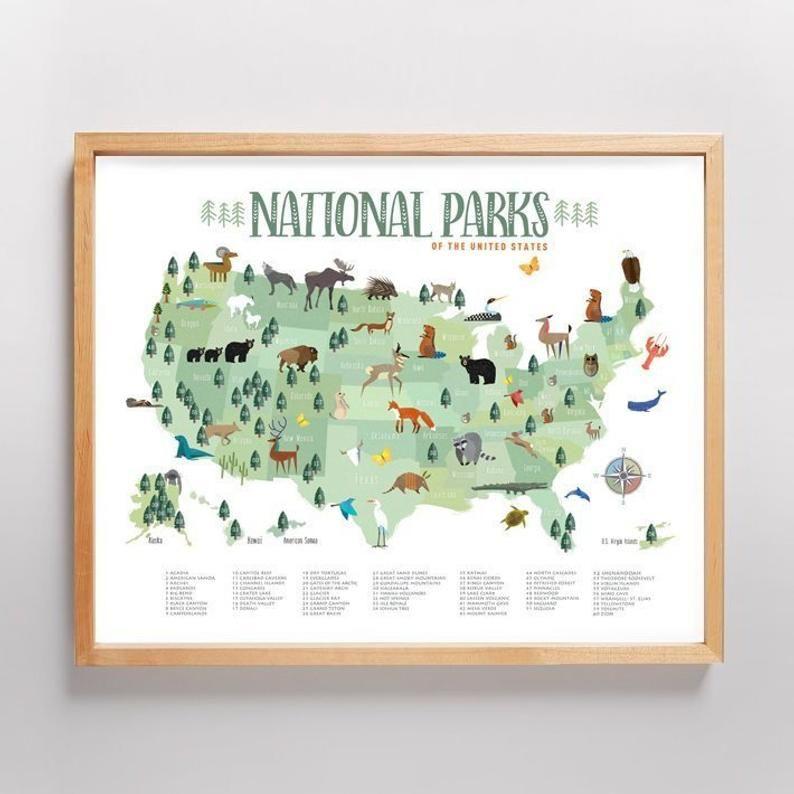 National Park Map New Light Greens Kids Map Wall Art Etsy In 2021 Kid Room Decor National Parks Map Children Room Girl