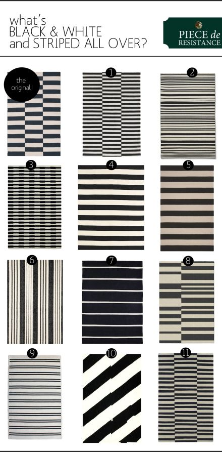 Black And White Rug Striped Kitchen