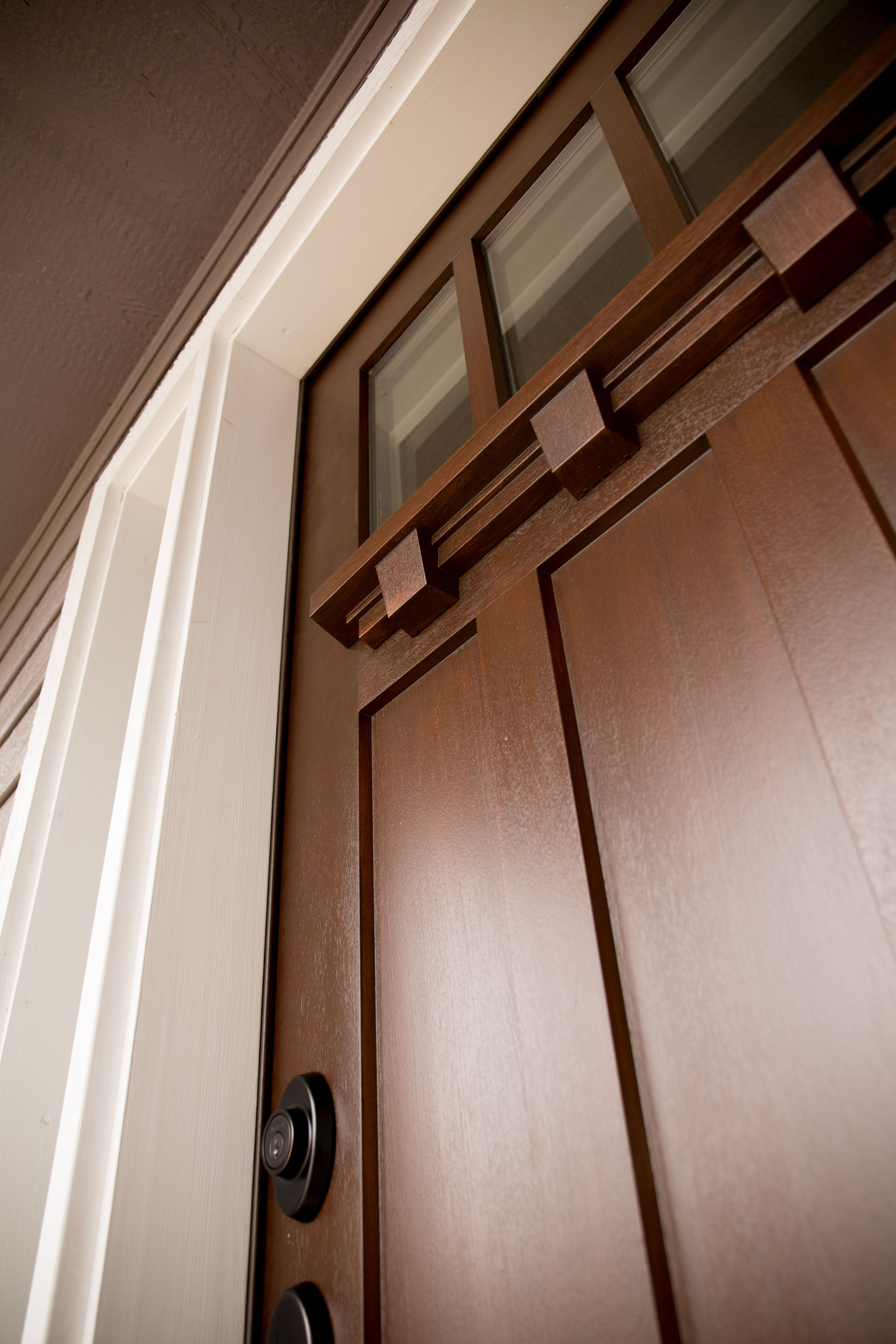 Fiberglass entry door systems wood doors - Exterior Door Acclimated Entry System Including Fir Fiberglass Door With Straight Sticking And Dentil Accessory