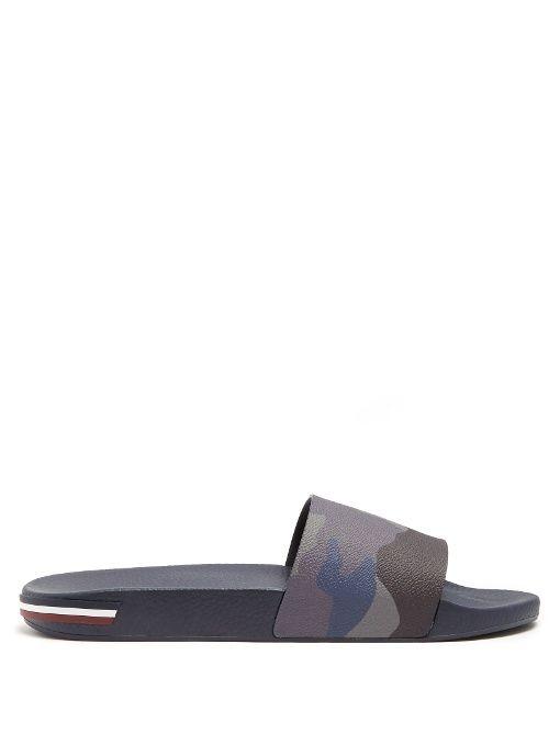 MONCLER Ivane Camouflage-Print Rubber Slides. #moncler #shoes #sandals