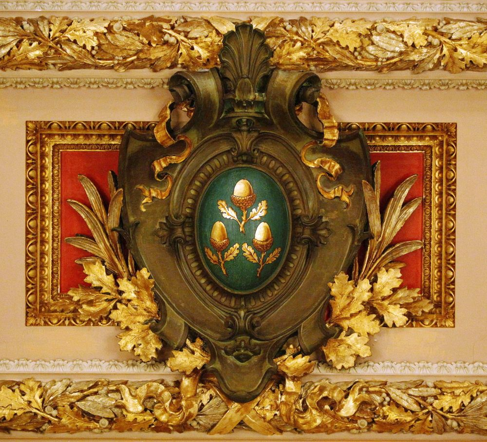 The Vanderbilt Family Crest Adorned With Acorns Located On The