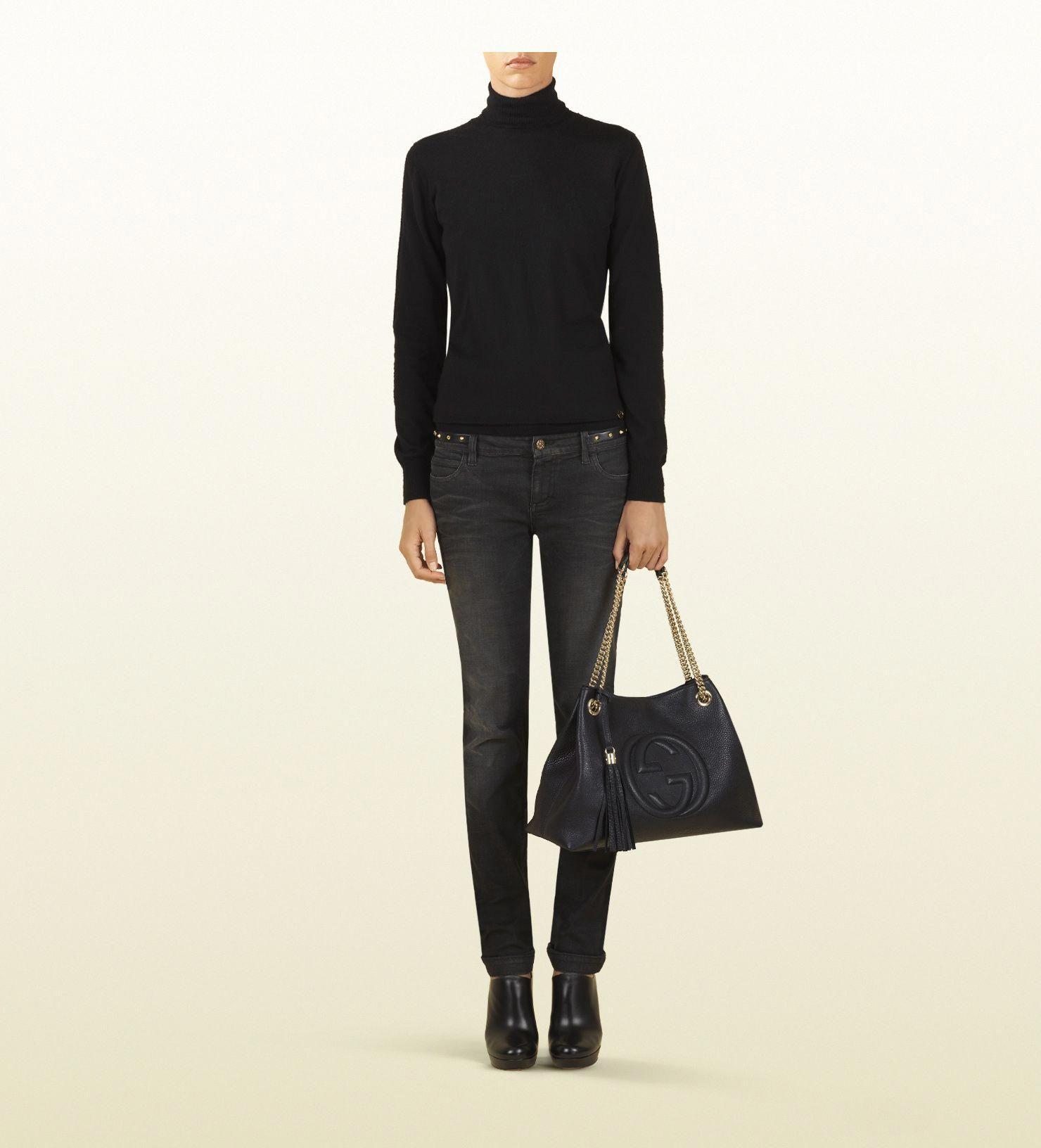 18a2f1b42bc Gucci. Soho medium black leather tote with chain straps. Love  3   Guccihandbags
