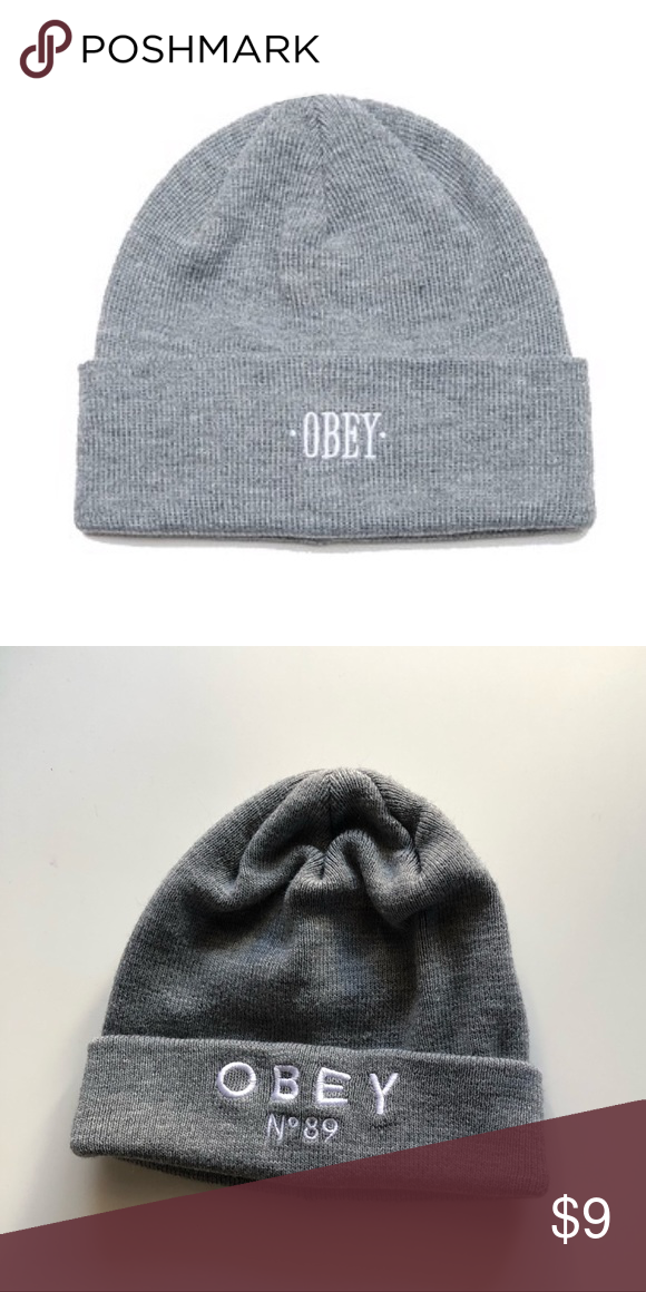 8dfaf759a1a Gray obey beanie Used Gray beanie Bundle and save 💕 Obey Accessories Hair  Accessories