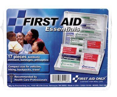 """21 Piece All Purpose Travel Size Kit by First Aid. $3.99. The21 piece Travel Size first aid kit allows you to be ready for all potential emergencies at home, in the car, outdoors or on the water. From cuts and stings to minor aches and pains, this kit prepares you for those small everyday emergencies. Fits easily into a purse, pocket, school bag or glove compartment.Kit Includes:     (2) Extra-strength non-aspirin tablets   (1) First aid guide   (5) 3/4""""x3"""" Adhesivebandages..."""