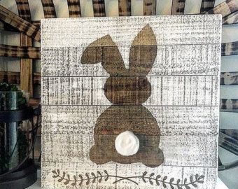 Rustic double easter bunny sign easter sign by CoastalCraftyMama