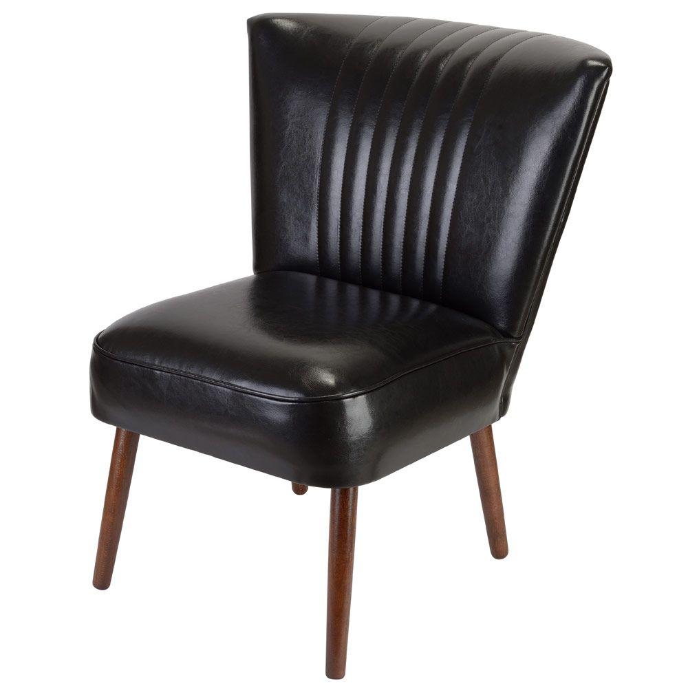 fauteuil cocktail par la chaise longue design vintage cuir et bois de hetre