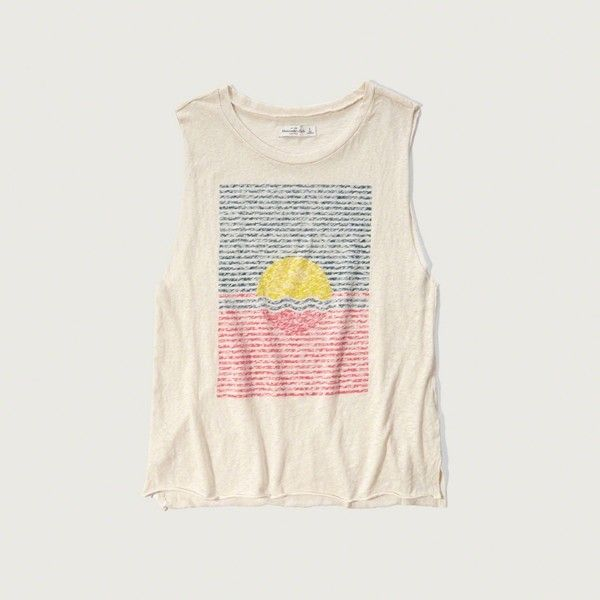 Abercrombie & Fitch Swim Graphic Muscle Tank (46 BRL) ❤ liked on Polyvore featuring tops, cream, graphic print top, graphic tanks, swimming tank, graphic tank tops and cut off tank