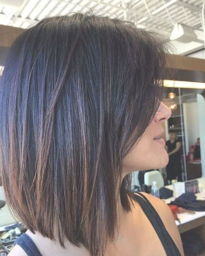 Graceful Medium Length Haircut On Dark Straight Hair Bob Hairstyles For Thick Haircut For Thick Hair Thick Hair Styles