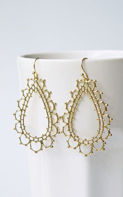 Gold Lace Earrings Titanium And Gold Ear Wires