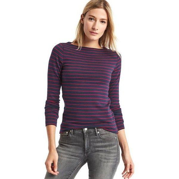 0775e10d Gap Women Modern Stripe Boatneck Tee featuring polyvore, women's fashion,  clothing, tops,