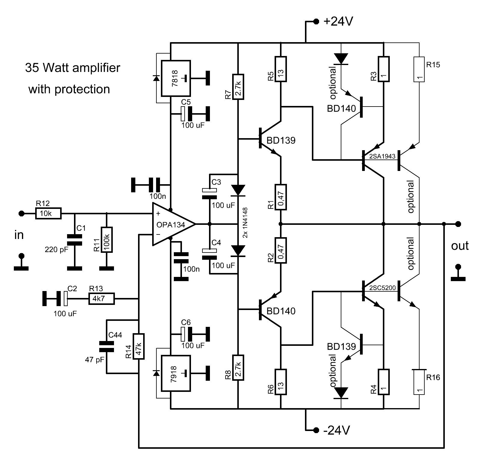 2sc5200 2sa1943 Amplifier Circuit Diagram Circuit Diagram Images Audio Amplifier Circuit Diagram Amplifier