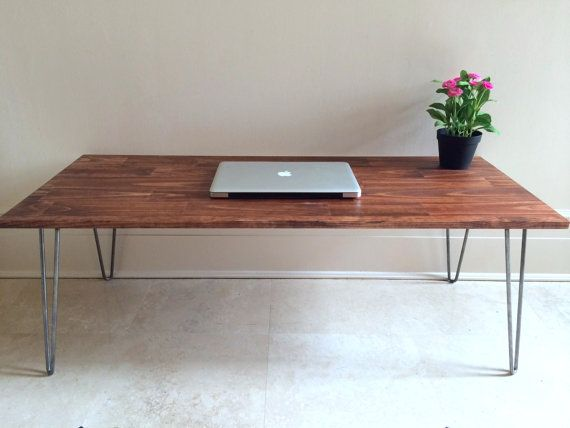 This Listing Is For A Rustic Wood Hairpin Coffee Table In Vibrant Red Oak Stain