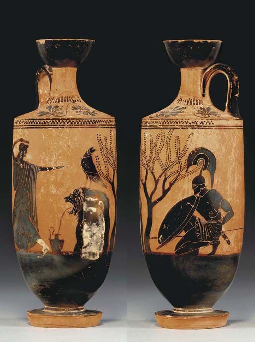 AN ATTIC BLACK-FIGURED LEKYTHOS ATTRIBUTED TO THE ATHENA PAINTER, CIRCA 500-490 B.C.