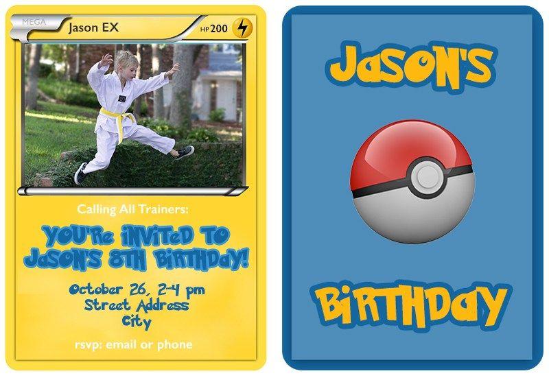 Pokemon Trading Card Invitation Templates Warm Hot Chocolate Pokemon Invitations Pokemon Birthday Pokemon Birthday Party