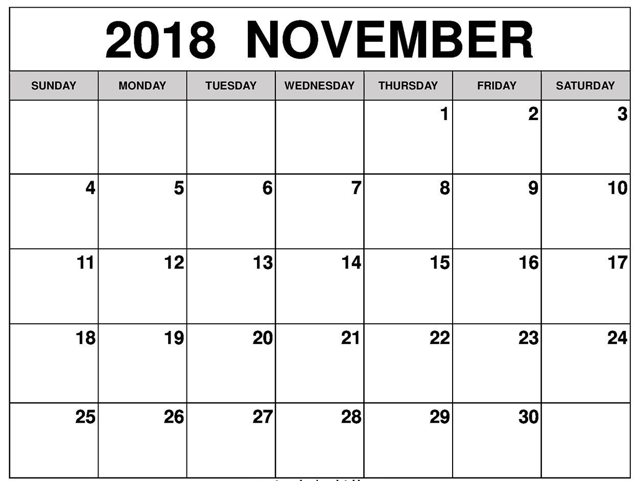 picture relating to November Calendar Printable Pdf known as print november 2018 pdf calendar 2018 Calendars November