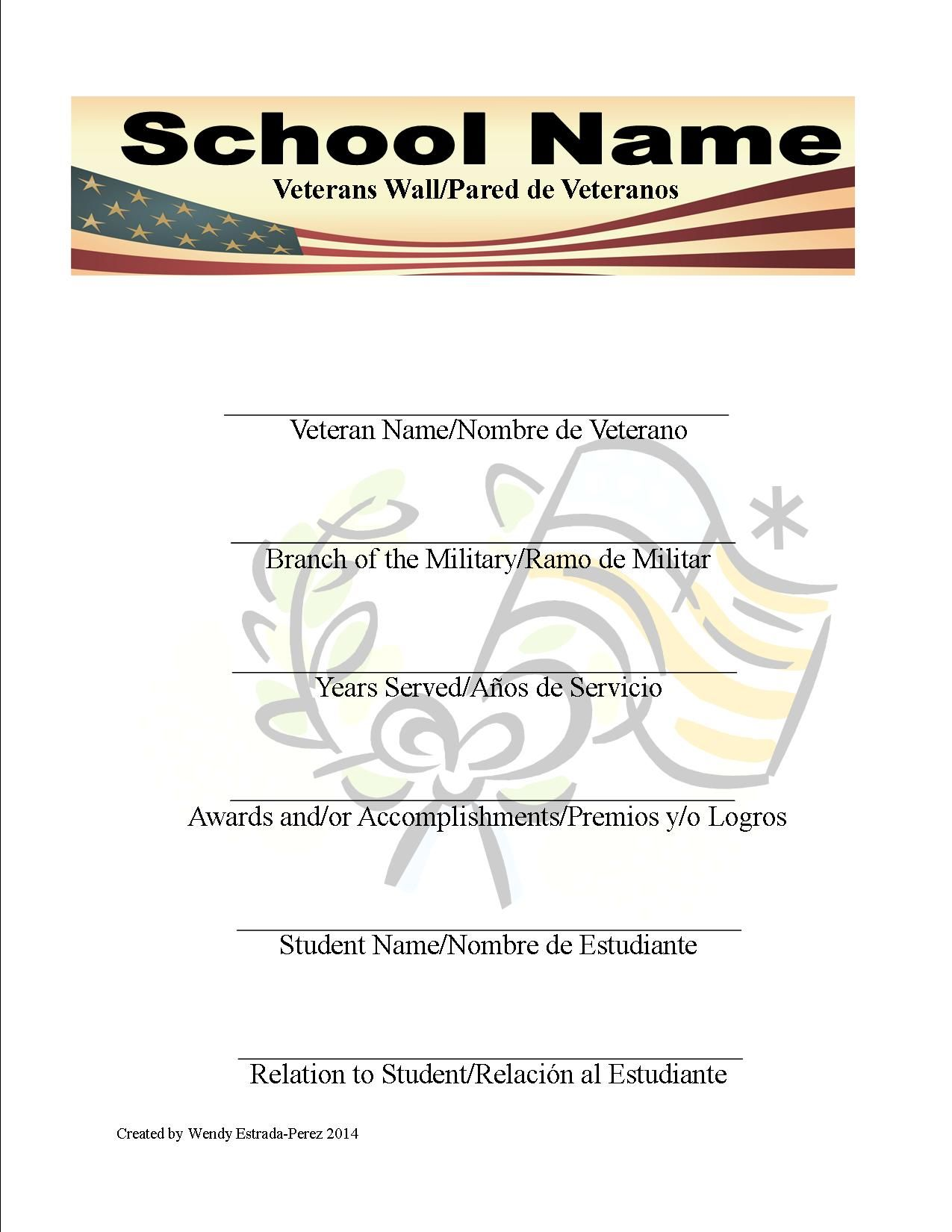 Veteran Day Flyer For A School