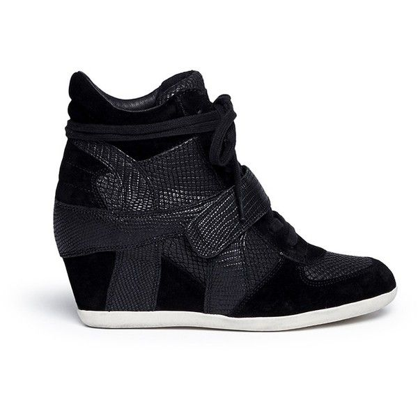66845bdbd773 Ash  Bowie  suede leather high top wedge sneakers ( 270) ❤ liked on Polyvore