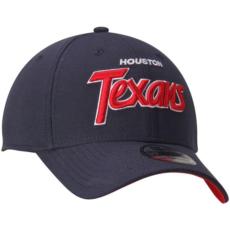 Men s Houston Texans New Era Navy Script Sign Classic 39THIRTY Flex ... ea2950cb0f80