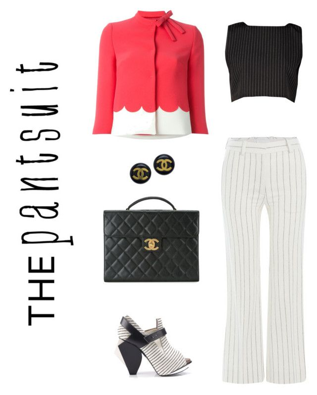 """""""Pinstripes"""" by frogers21 on Polyvore featuring RED Valentino, Maison Margiela, Abcense, Chanel and thepantsuit"""