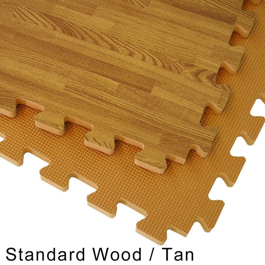Interlocking floor tiles combine a wood grain designer look for interlocking floor tiles with a wood grain foam tile look these interlocking foam tiles offer a durable and soft flooring surface in wood tile design dailygadgetfo Choice Image