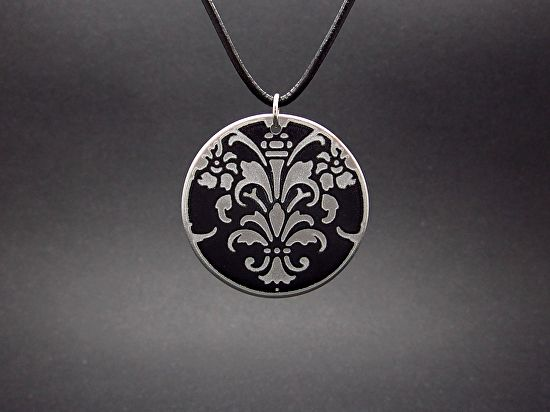 "Fleur De Lis Pendant by  Good Carma Jewelry Upcycled Vintage Auto Metal ~ 1.5"" x 1.5"""