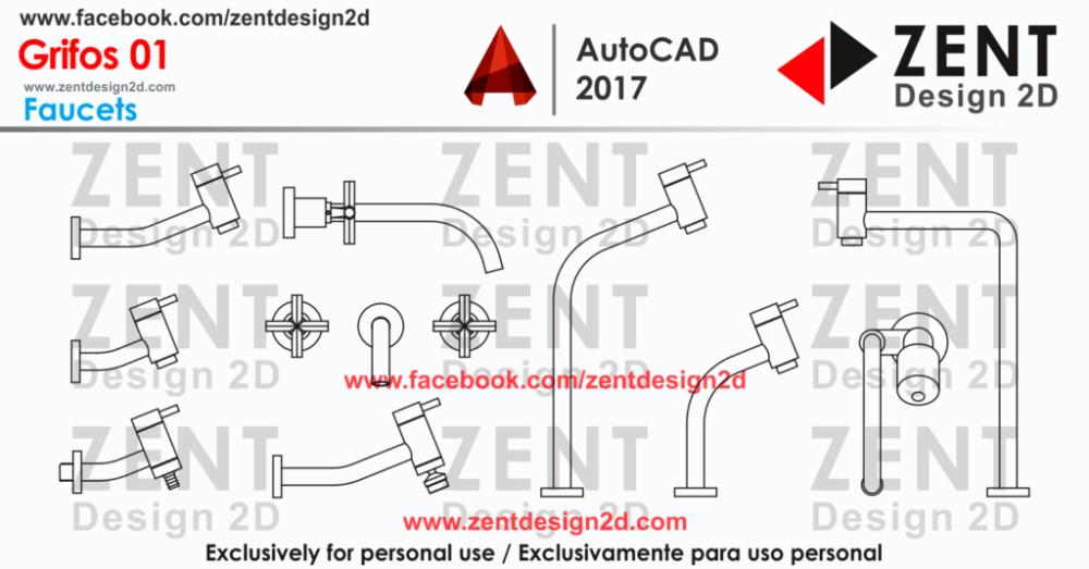 Grifos 01 autocad blocks autocad 2017 autocad y bloques - Bloques autocad grifos ...