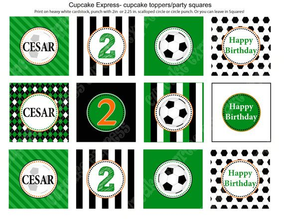 Diy Soccer Birthday Party Printable Cupcake Toppers Favor Tags Green Orange Sports Soccer Birthday Parties Soccer Birthday Cupcake Toppers Printable