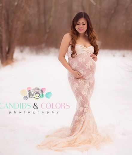 Lace Sweetheart Maternity Gowns Photography Mermaid Dress Wedding Baby Shower Photo Shoot