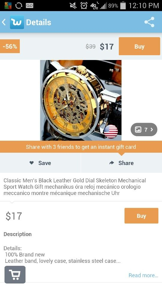 Wish app Watch gifts, Mens black leather, Instant gift cards