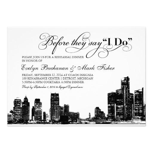 Detroit Skyline Art Deco Wedding Rehearsal Dinner